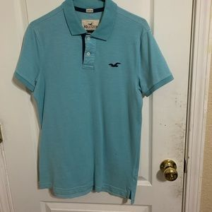 Teal bluish hollister polo